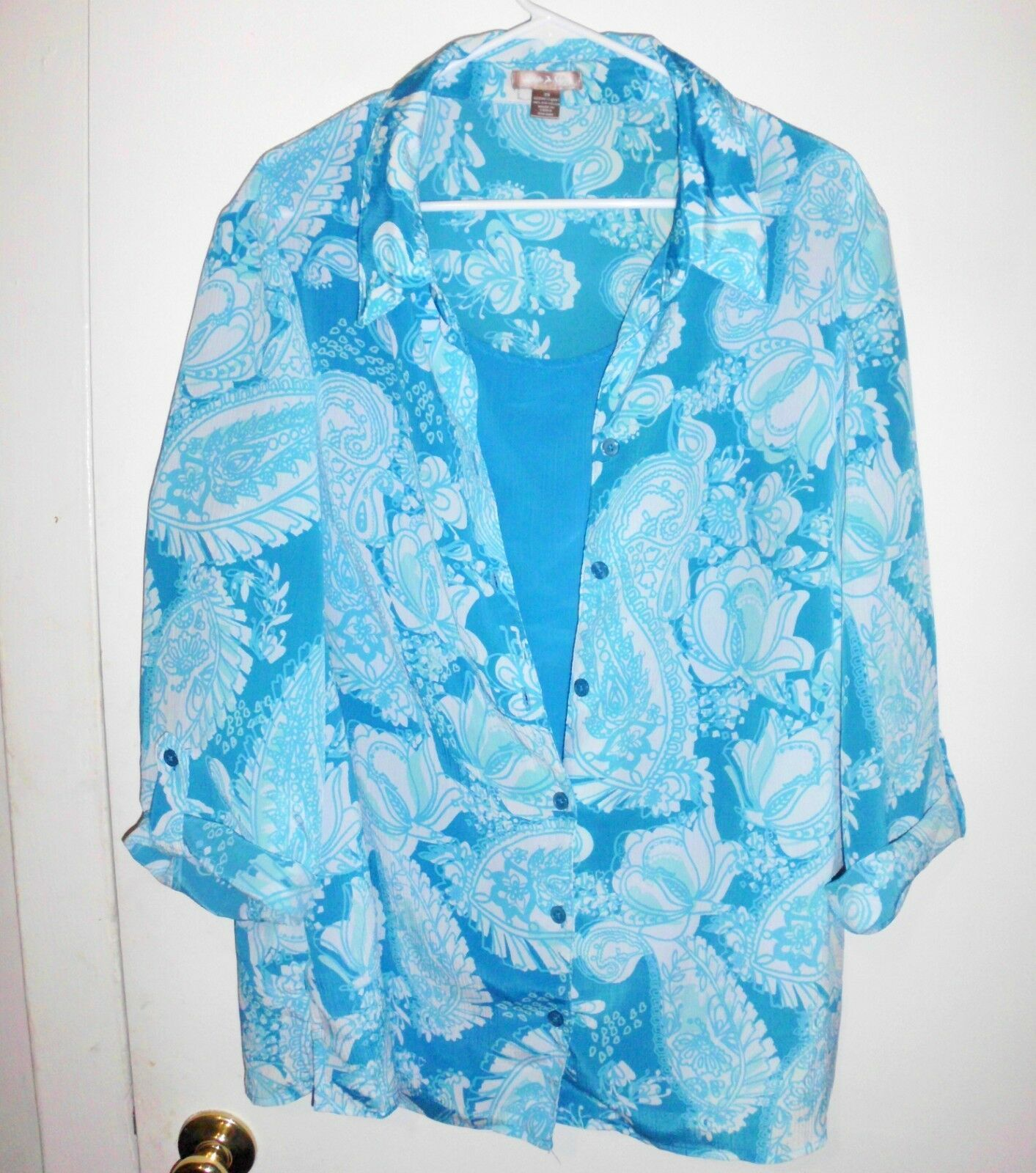 Primary image for WHITE STAG Shirt Plus 3X Women Aqua Blue White Button Front Crinkle Layer-Look