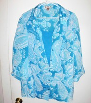 WHITE STAG Shirt Plus 3X Women Aqua Blue White Button Front Crinkle Laye... - $22.76