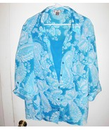 WHITE STAG Shirt Plus 3X Women Aqua Blue White Button Front Crinkle Laye... - $22.76