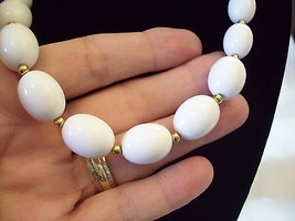 MONET White OVAL Beads Necklace CHOKER Gold Plated Spacers Vintage Estate Career image 2