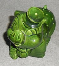 Vintage 1950s GREEN POTTERY PIG w/TOPHAT Hors D'oeuveres Holder GREAT DE... - $24.74