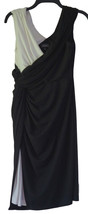 Adrianna Papell Black White Color Block Drape Sheath Dress 8 - $29.69