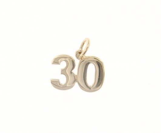 18K YELLOW GOLD NUMBER 30 THIRTY PENDANT CHARM 0.7 INCHES, 17 MM MADE IN ITALY