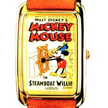 Mickey Steamboat Willie Poster Watch Seiko Lorus GoldTone Rectangular RM... - $97.86