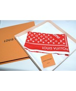 Supreme Louis Vuitton Monogramme Bandana Rouge Mini Écharpe 55 CM R52 - $1,211.21