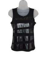 Deep Black Sleeveless Top with Pleather Trim by Alfani PXS - $16.00