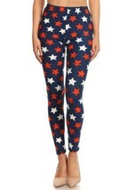 Women's 3 X 5X 4th of July Stars Distressed Pattern Printed Leggings - $14.84