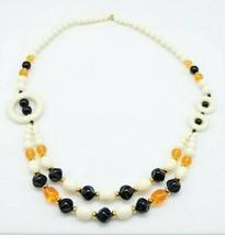 Trifari Modernist Beige Black Topaz Acrylic Bead Beaded Necklace - $49.49