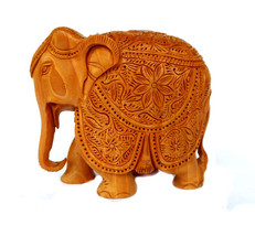 Hand Carved Rare Figurine Wooden Elephant Statue Art Wild Animal Sculpture - $99.85