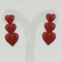 Red Heart Earriings Enamel Paint Metal Vintage 1980's 90's Valentine Lig... - $11.88