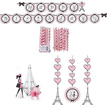 Party in Paris Party Decorations Supply Pack - Straws, Hanging Cutouts, ... - $17.42