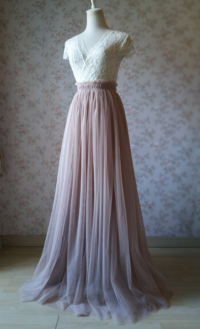 LIGHT TAUPE High Waist Long Tulle Skirt 2019 Bridesmaid Tulle Outfit Plus Size