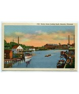Harbor Scene Looking South Kenosha Wisconsin linen postcard - $5.89