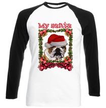 British Bulldog 1 My Santa Christmas - New Black Sleeved Baseball Tshirt - $21.28