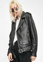 Dolls Kill Current Mood RIOT RIDERS LEATHER MOTO Jacket XS Distressed Ov... - $386.04