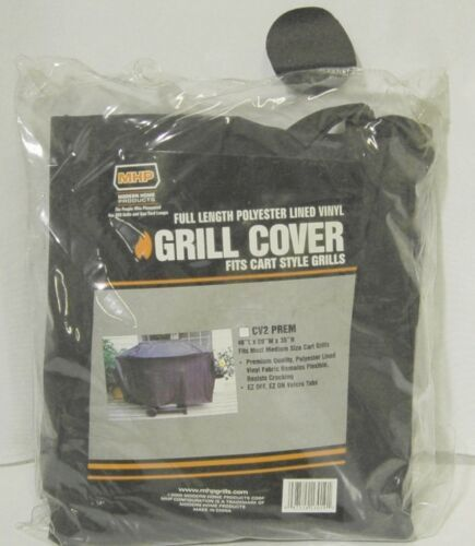 MHP CV2PREM Full Length Polyester Lined Vinyl Grill Cover Color Black