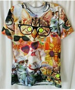 Cat wearing glasses Funny T-Shirt Polyester Blend Small/Medium  - $14.84