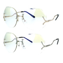 Womens Oversize Drop Temple Rimless Butterfly Diva Granny Eye Glasses - $12.95