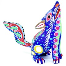 Handmade Oaxacan Copal Wood Carving Painted Folk Art Howling Wolf Coyote Figure image 1