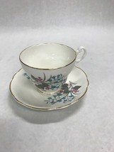 Tea coffee cup Porcelain England  English Castle Staffordshire  blue flowers - $16.82