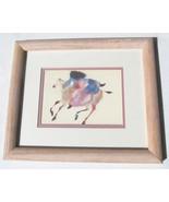 """1990's Carol Grigg """"She Walks With Horses"""" Framed Native Indian Color Li... - $74.99"""