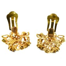 Vintage Karu Arke Gold Tone Clip On Earrings with Amber Brown Accents Austria image 6