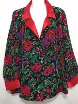 Victoria's Secret M Red Collar Cuffs Multi-Color Floral Satin Pajama Top - $26.26