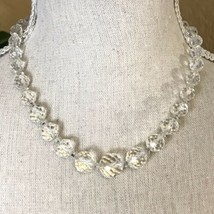 """17"""" Stunning Vintage Graduated Crystal Glass Beaded Necklace Silver Tone Clasp - $24.75"""