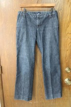 W9173 Womens GAP Dark Wash Blue Stretch TROUSER JEANS Straight Leg 6P Ankle - $15.45