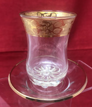 Pasabahce Turkey Gold Ornate Trim Etched Glass Tea  & Saucer Set - $12.82