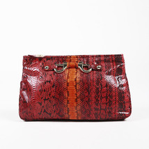 Jimmy Choo Red Snakeskin Zipped Clutch - $200.00
