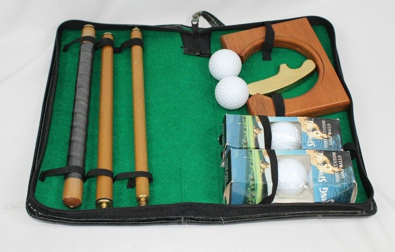 Primary image for Folding Golf Putter Club Ball Practice Hole Gift Set in Case w/ Spalding Balls