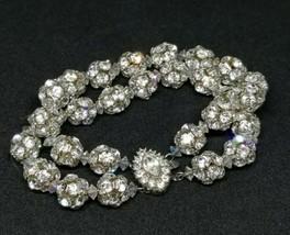 Bergere Clear Rhinestone Multi-Strand Silver Tone Rare Statement Bracelet - $74.24