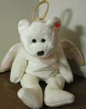 "TY Beanie Babies Baby plush ANGEL WINGS WHITE ""HALO""  BEAR  - $10.89"