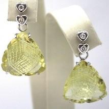 Drop Earrings White Gold 18K, Diamonds, Quartz Lemon,Hearts,Triangles image 1