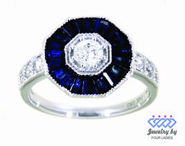 Zaffiro Blu Gemma 14K Oro Bianco 1.42CT Designer Diamante Cocktail Fine ... - $1,110.77
