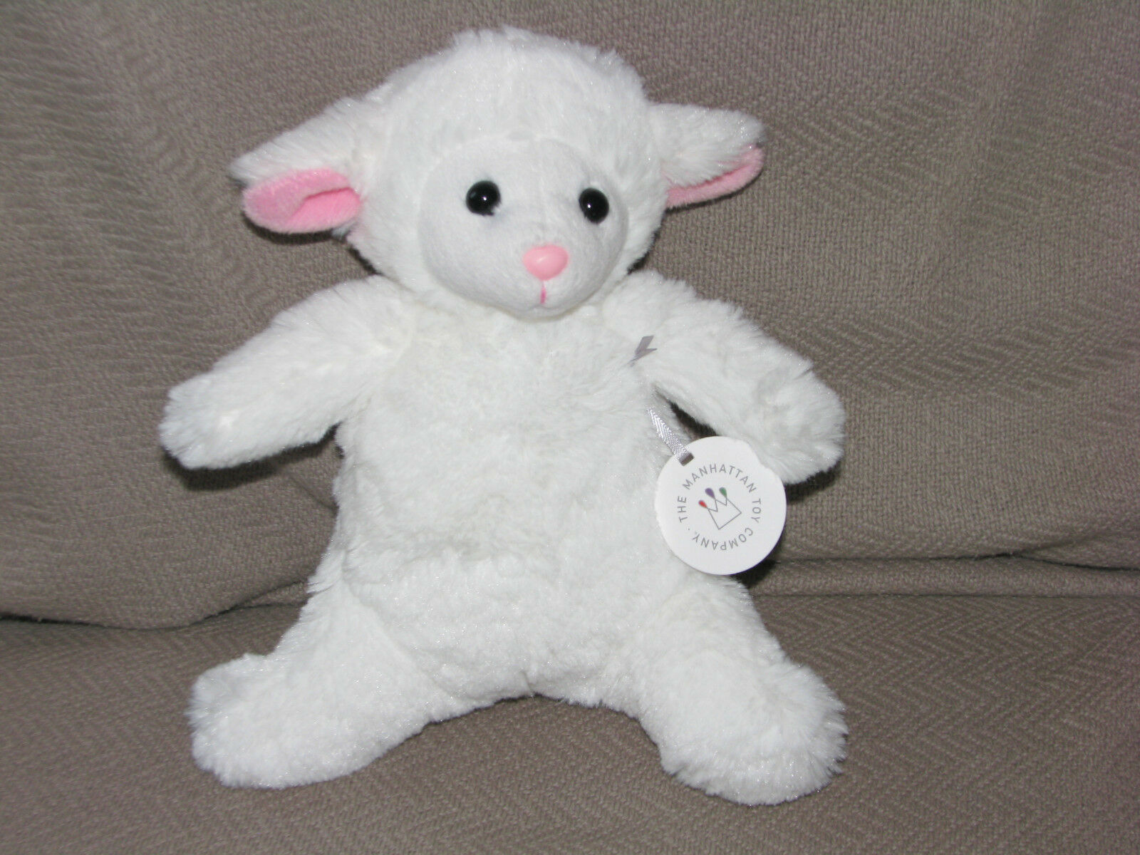 Primary image for 2016 MANHATTAN TOY STUFFED PLUSH FLUFFY SOFT WHITE LAMB SHEEP PINK NOSE EAR NEW