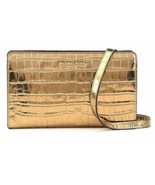 Michael Kors Gold Large Crossbody Clutch Embossed Leather - $69.20