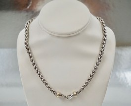 "David Yurman Sterling Silver 14K Gold 6mm Wheat Chain Necklace 18"" - $479.99"