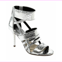 Michael Kors Shiloh Open Toe Metallic Embossed Leather, Silver Size 7 M - $45.09