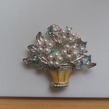 Silver-tone Beige Enamel Flower Basket Brooch Blue/Pink Rhinestones Faux... - $14.84