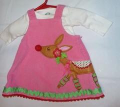 Mud Pie Mudpie Baby Girl Corduroy Cord Hot Pink Jumper Dress Reindeer Xmas 0-6 - $15.83