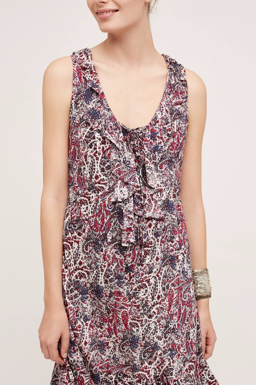 NWT ANTHROPOLOGIE WINDWARD RUFFLE LACE UP DRESS by MAEVE L