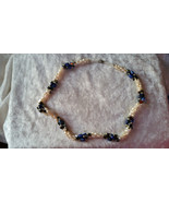 fresh water pearl blue stone hematite necklace vintage wedding old new b... - $22.00