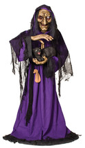 Life Size Animated Spellcaster Witch with Black Cat Halloween Prop Watch... - €152,29 EUR