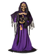Life Size Animated Spellcaster Witch with Black Cat Halloween Prop Watch... - $186.64