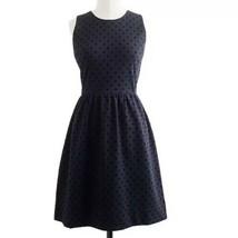 J.Crew Polka Dot Ponte Dress XXS (00) Deep Navy Blue Sleeveless A Line - $30.59