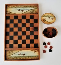 PRIMITIVE hand painted CHECKER CHESS BOARD w PIECES duck decoy game hunting - $68.95