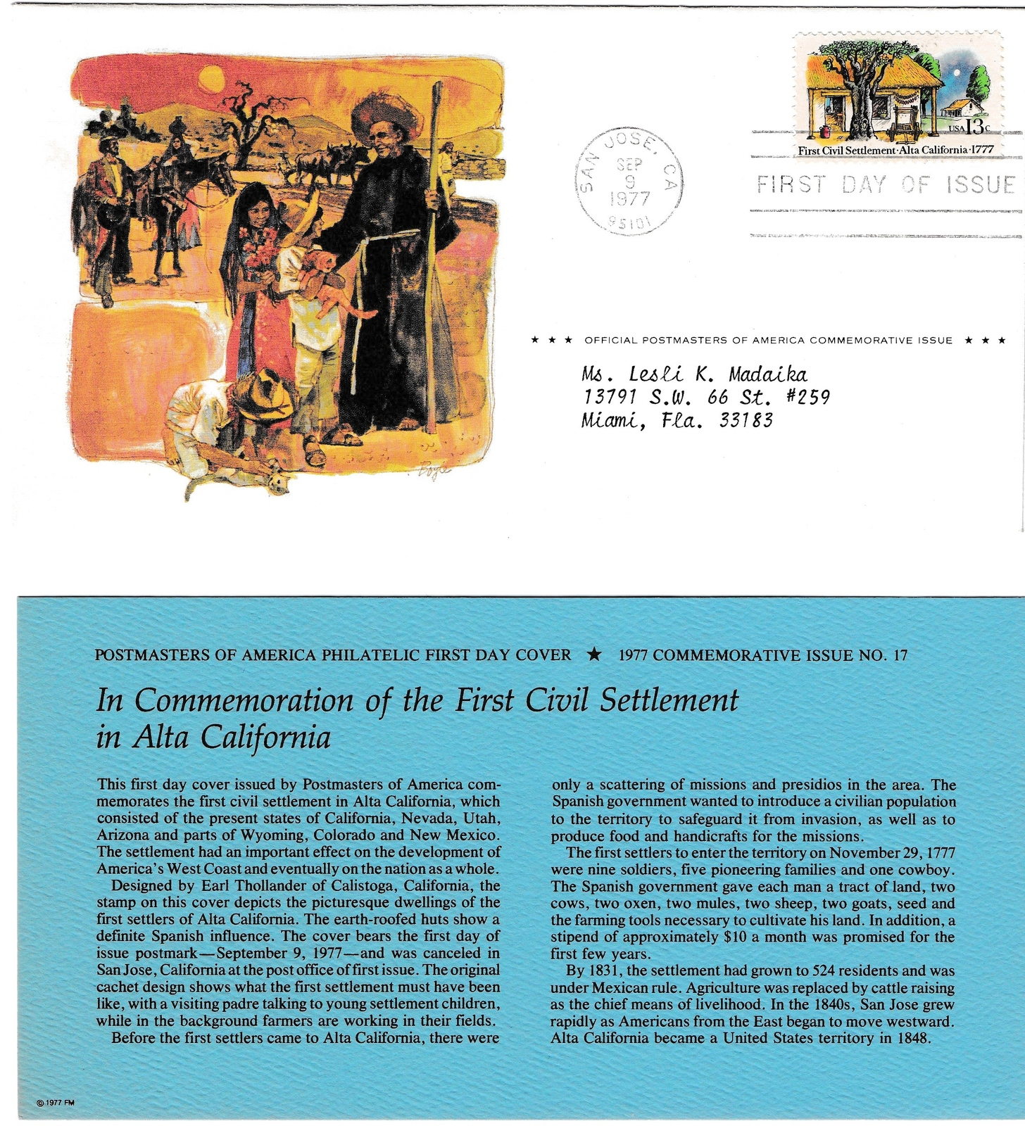 1977 USPS, First Civil Settlement in Alta, California, 13 cent, 1st Day of Issue