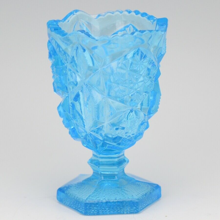 Vintage Glass Toothpick Holder Kemple Press Cut Ice Blue